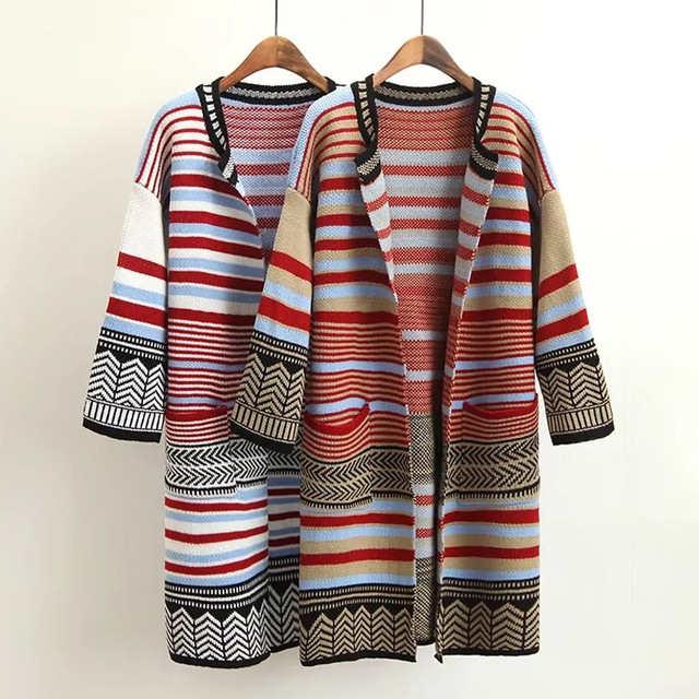 Cardigan LARRONKETY Sweaters Long Multicolor Stripes Pocket Polyester O Loose Long Autumn Sweater Knit neck Double Sleeve 2017 UW0TanH0