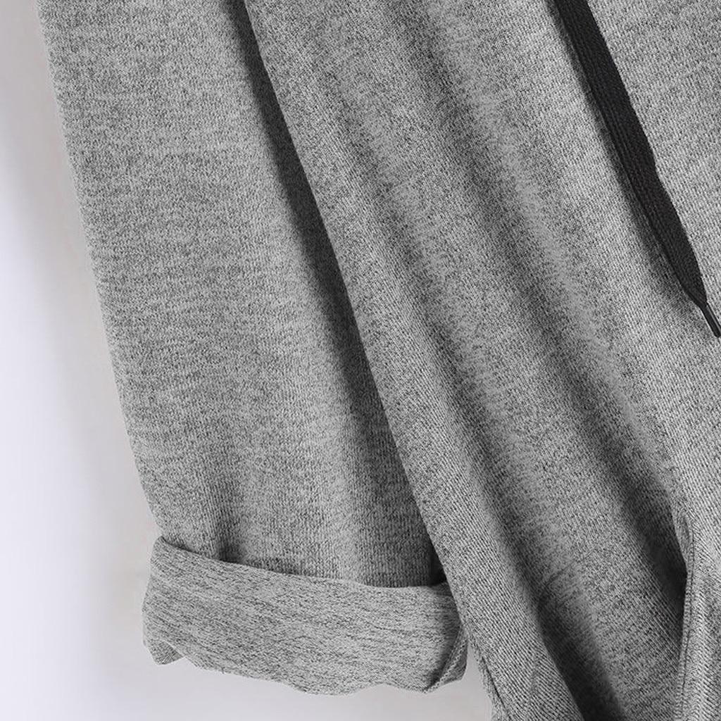 Women Casual Printed Cat Ear Hooded T-Shirt Long Sleeves Pocket Irregular fashion 22