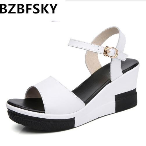 BZBFSKY Platform Wedges Sandals women Summer New Fashion Sexy Open Toe High-heeled Sandals Buckle Genuine Leather women shoes hot 2018 summer new fashion women sandals wedges shoes high heel sandals platform open toe buckle casual shoes