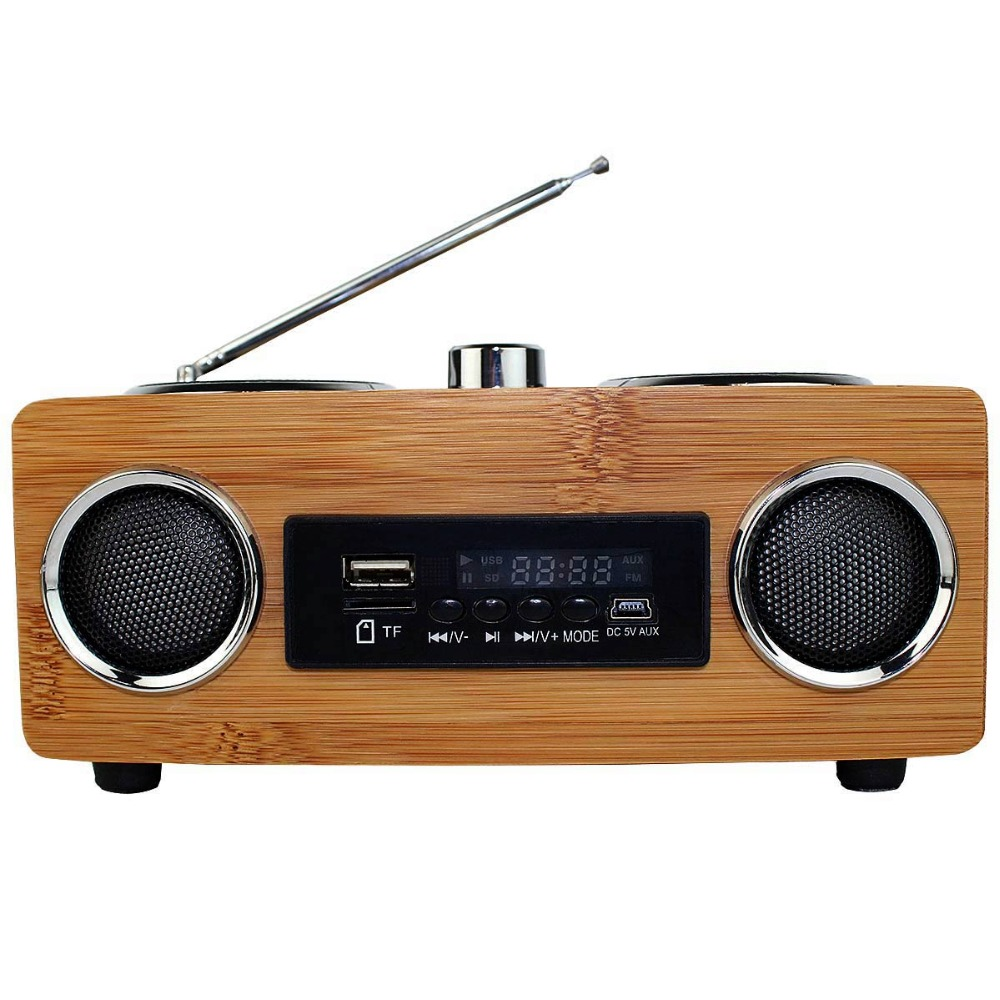 ФОТО Vintage Radio Retro Super Bass FM Radio Bamboo Multimedia Speaker TF Card/USB/FM Radio/MP3 player Portable Radio Receiver Y4113O