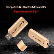 цена на 2 in 1 3.5MM USB Wireless Audio car Bluetooth Receiver Transmitter Music Stereo Dongle Adapter for TV Smart PC DVD MP3 BHF04GDR
