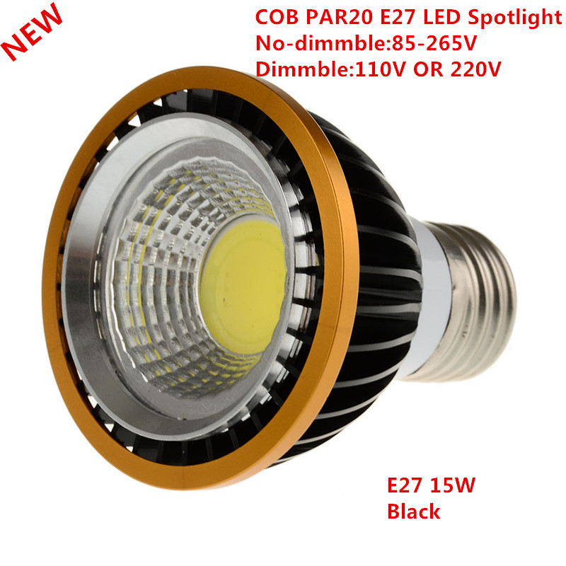 1pcs Newest PAR20 COB Dimmable E27 LED Spot Light 15W Par20 Bulb Lamp Warm White/Cool White/Pure White Spot Downlight Lighting
