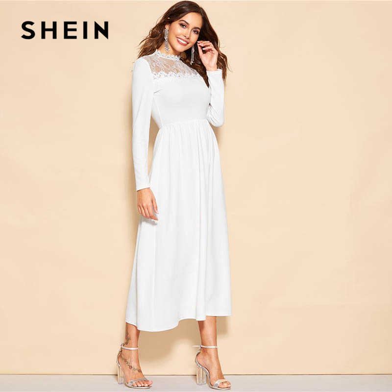 a8036d9c9c ... SHEIN White Lace Insert Zip Back Stand Collar Fit and Flare Mid Waist  Maxi Dress Women ...