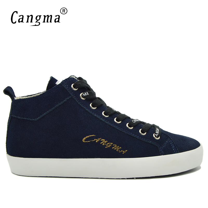 CANGMA Vintage British Cow Suede Shoes Navy Blue Mans Genuine Leather Sneakers Men Casual Shoes Mid Latest Male Lace Up Footwear cangma original casual shoes women sneakers lace up black cow suede footwear female genuine leather mid leisure shoes for woman