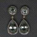 Genuine Ametista Verde Brincos 14Kt Ouro Amarelo Diamante Ametista Brincos Em Gotas ER002