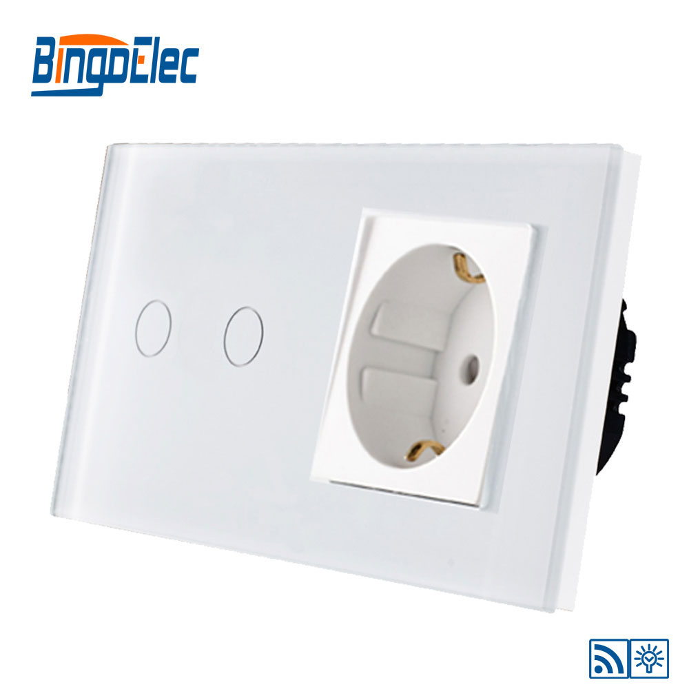 Electrical Equipment & Supplies EU Standard Black Glass 2gang 1way/2way Remote/Dimmer/Touch Wall Switch and Germany Wall Socket