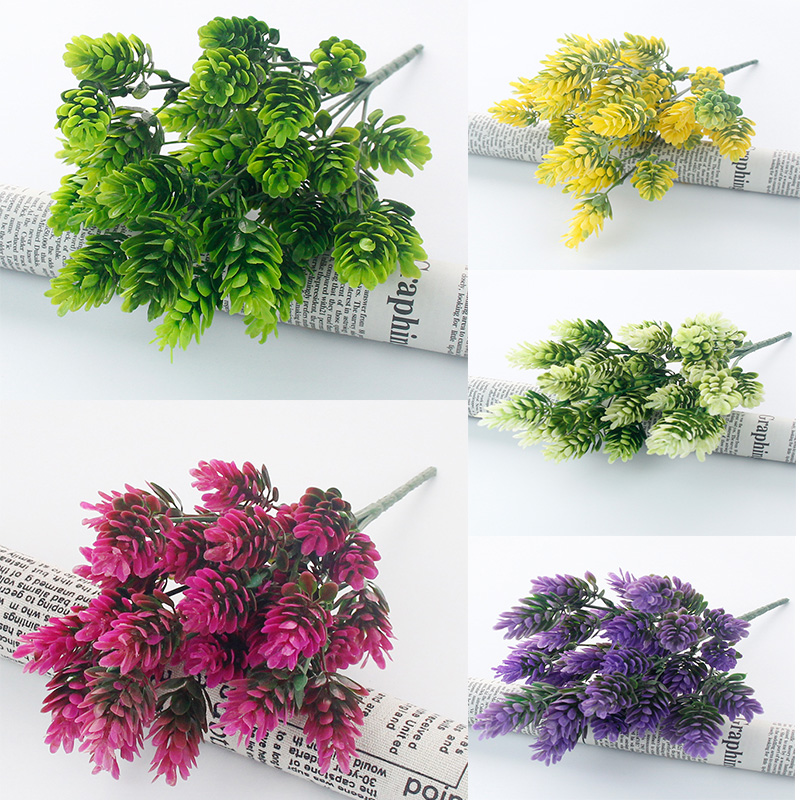 Strong-Willed Christmas Decoration Artificial Plan Fake Pine Cones Leaf Shaped Grass Party Decoration Home Garden Plants Artificial & Dried Flowers Artificial Decorations