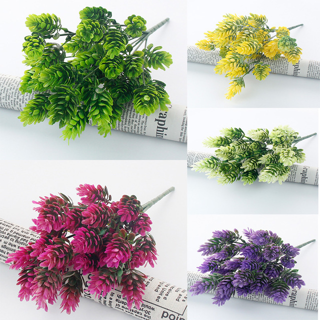 35 heads/bundle Pine Cone Simulation Pineapple grass artificial plants DIY home vases for decoration fake plastic flower pompon