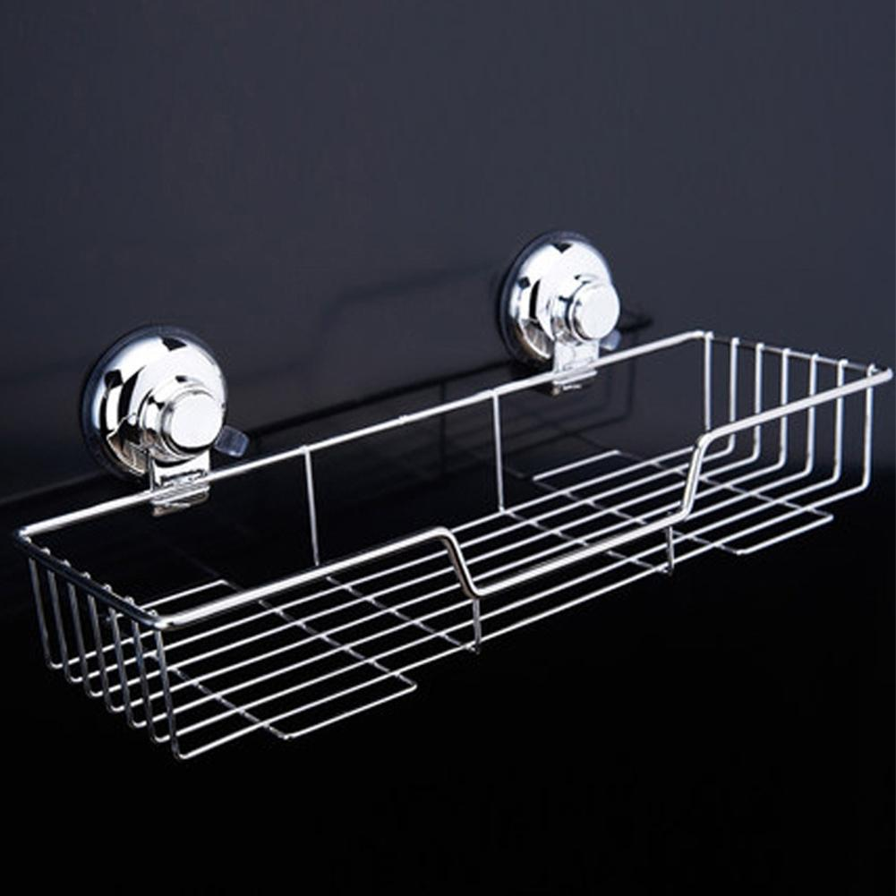 LanLan Stainless Steel Wall Shelf Bathroom Shelf Basket Storage Holder Hanging Organizer Suction Kitchen Bathroom Accessories wall hanging shelf metal