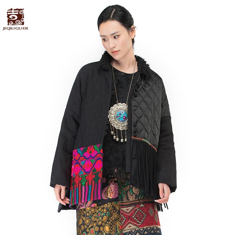 Jiqiuguer Women Short Cotton Linen Jacket Coat Vintage Embroidery Tassel Loose Casual Parkas Lady Winter Warm