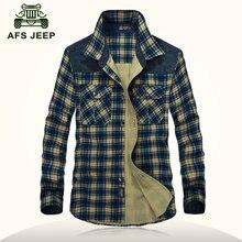 AFS JEEP 2016 Good quality autumn men's casual brand 100% pure cotton thick grid shirt spring man plaid long sleeve shirts M-3XL