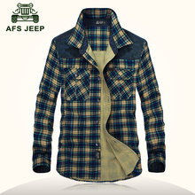 AFS JEEP 2016 Good quality autumn men s casual brand 100 pure cotton thick grid shirt