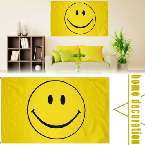 Happy Face <font><b>Flag</b></font> Sunnny Yellow Smiley Face Banner Smile Pennant New Delighted Cool Cartoon Indoor Outdoor <font><b>Flags</b></font> <font><b>90x150cm</b></font> image