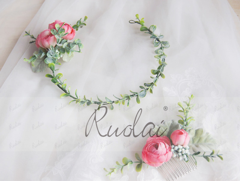 Купить с кэшбэком Flower Crown Rose Wedding Headband Bridal Hair Comb Plant Head Wear for Women Boho Wedding Accessories Fairy Green Leaf HD39