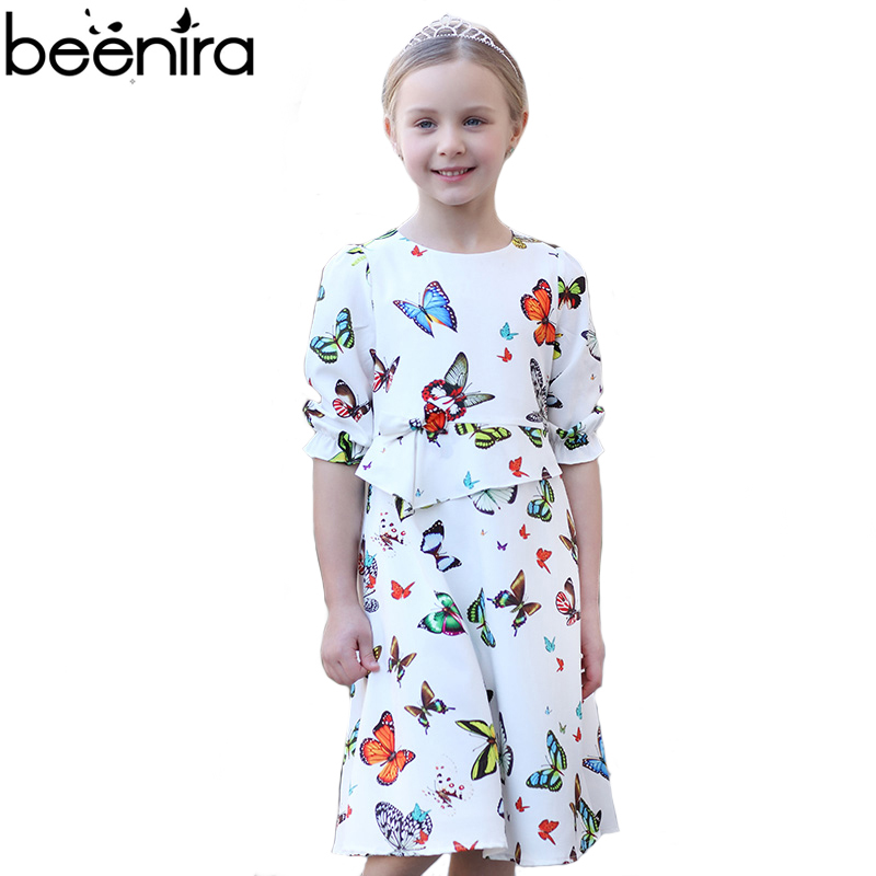 все цены на Summer Girls Dress Kids Princess Party Costume Child Butterfly Print Petal Sleeve White Color for 4y-14y Clothing High Quality