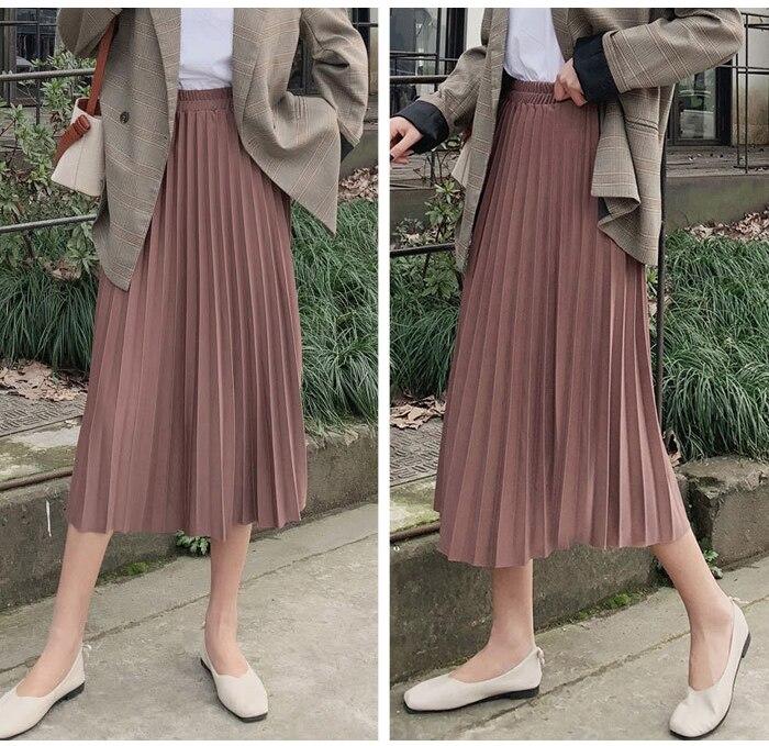 Surmiitro Elegant Solid Midi Pleated Skirt Women 19 Autumn Winter Ladies Korean High Waist A-line School Long Skirt Female 9