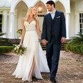 Vestido de hendidura lateral una línea de vestidos de novia 2017 lorie Vestidos de Noiva vestido de Novia de Gasa de Encaje Robe De Mariee Nupcial de Cristal Sash