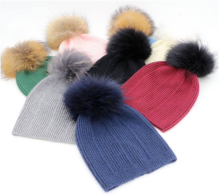 423be9f0607 Beautiful !!! Big Real Fur Pom Pom Hat Winter Womens 100% Wool Hats ...