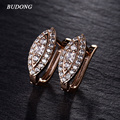 BUDONG Fashion Unique Hoop Earrings for Women  Gold Plated Hoop Earrings White Crystal CZ Earing Eye Jewelry E192