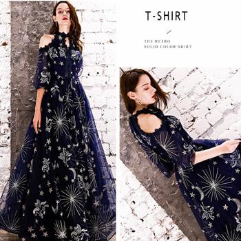 2019 Prom Dresses Shiny Foil Printed Evening Dresses Halter Half Sleeves Formal Dress Women Occasion Party Dresses Robe De Soire