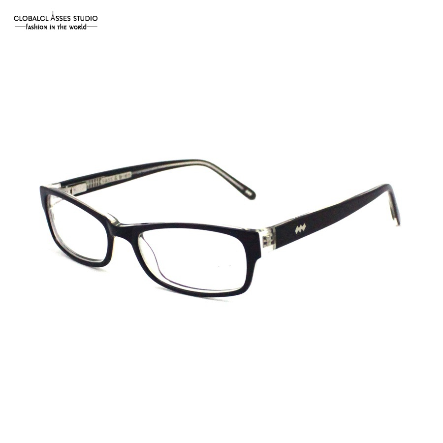 Attractive Rectangular Acetate Glasses Frame Women Black on Crystal ...