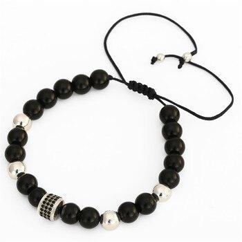 Bracelet Acier Pierre Fines Onyx