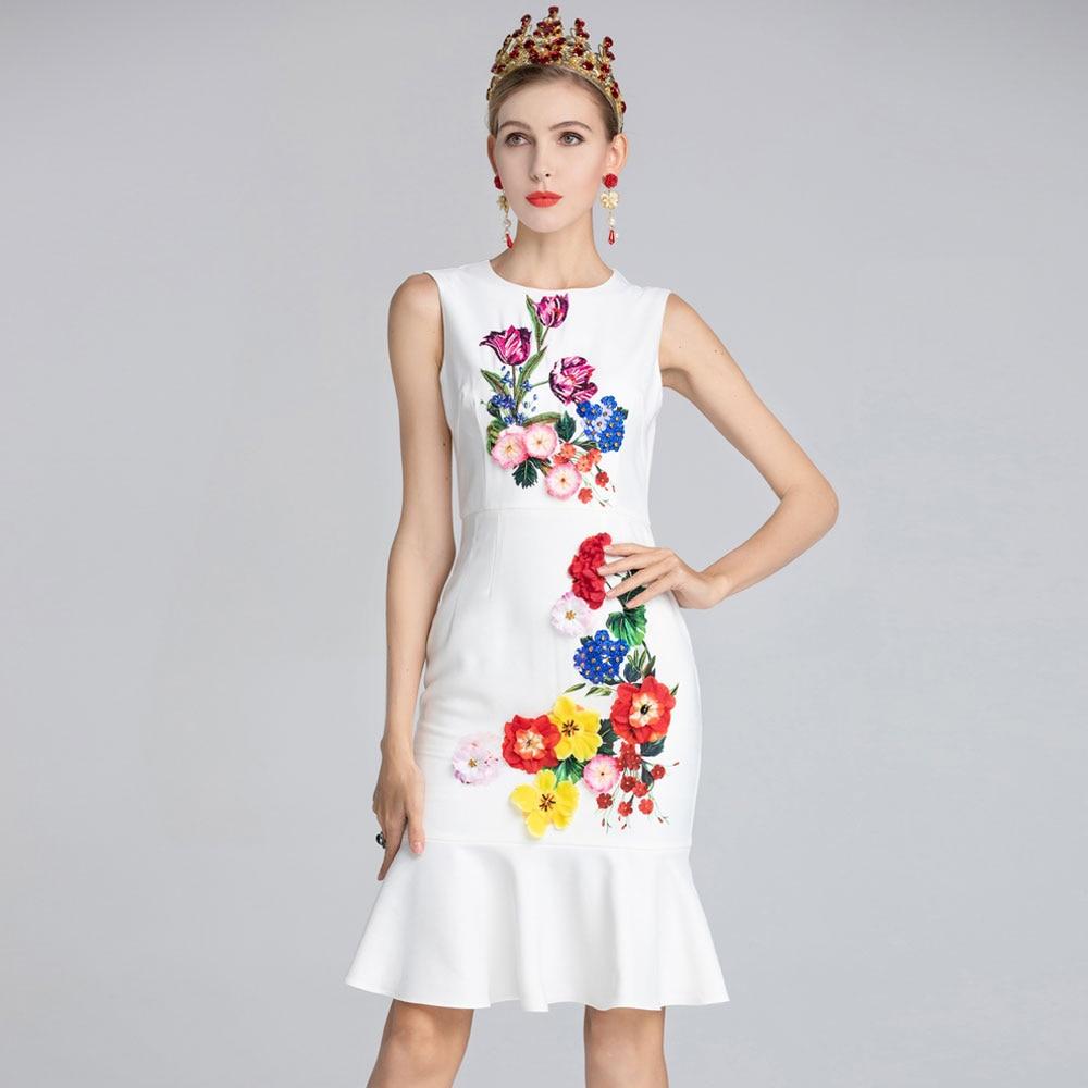 Red RoosaRosee Summer Fashion Elegant Runway Dress Women Sleeveless Print Sequin Floral Applique White Mermaid Dress