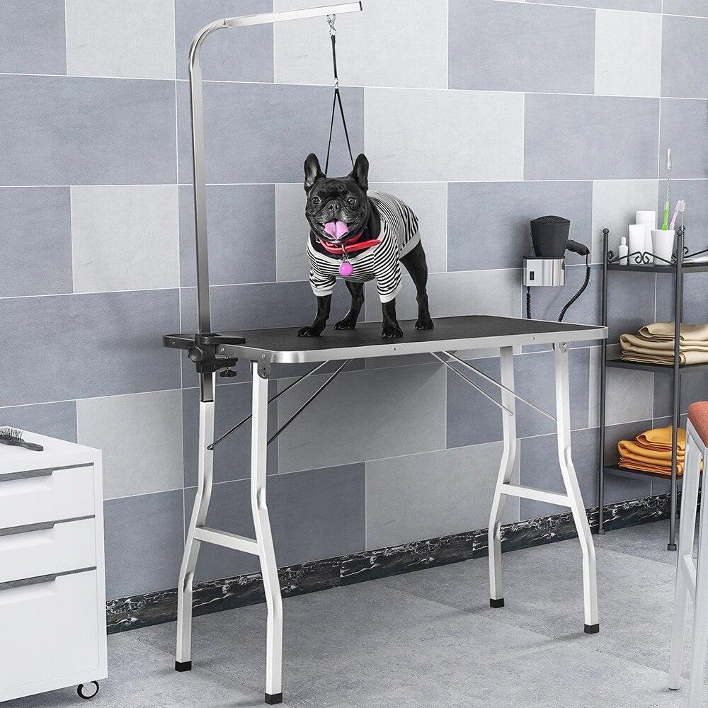 Table de toilettage pliable réglable pour animaux de compagnie Table en caoutchouc antidérapante fournitures pour chien produit pour animaux de compagnie Table de toilettage élégante et pratique