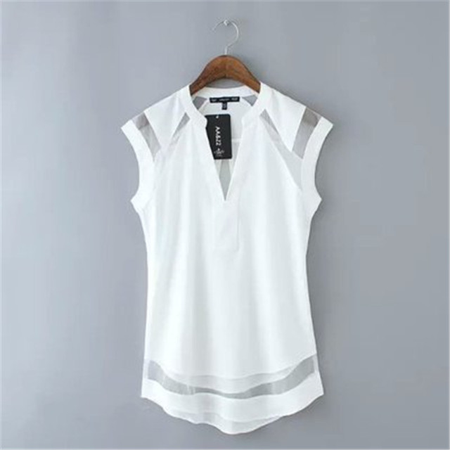 2016 The New Summer Women'S Perspective Leisure V-Neck Sleeveless Yarn Splicing T-Shirt  Women