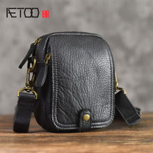 AETOO Leather Messenger Bag casual vintage Leather Phone Pocket Shoulder Bag Mini Men's Soft Leather Small Bag(China)