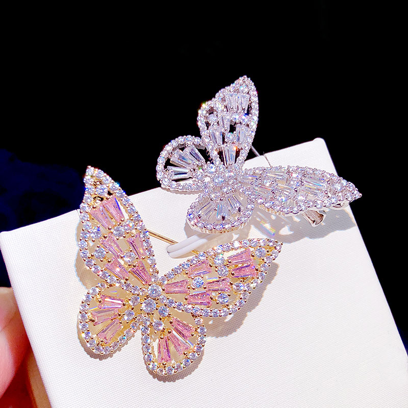 ASNORA Stylish pink zircon butterfly brooch for women with silver zircon mounting crystal wedding