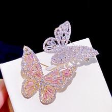 Asnora elegante rosa zircão borboleta broche para mulher com zircão montagem cristal casamento