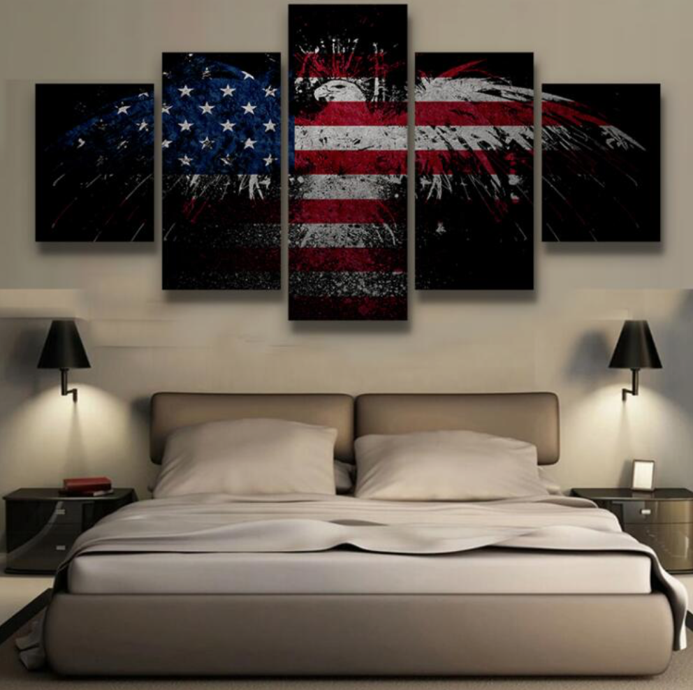 5 pieces canvas painting patriotic bald eagle wall art for Modern home decor pieces