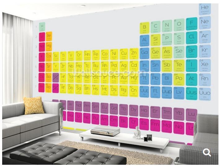 custom papel de parede infantil the periodic table of the elements 3d cartoon mural for living. Black Bedroom Furniture Sets. Home Design Ideas