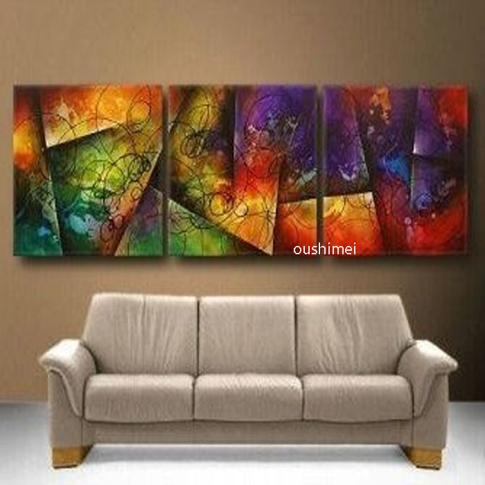 Abstract paintings 3p wall art family decoration murals hotel adornment picture oil painting - Lienzos decorativos ...