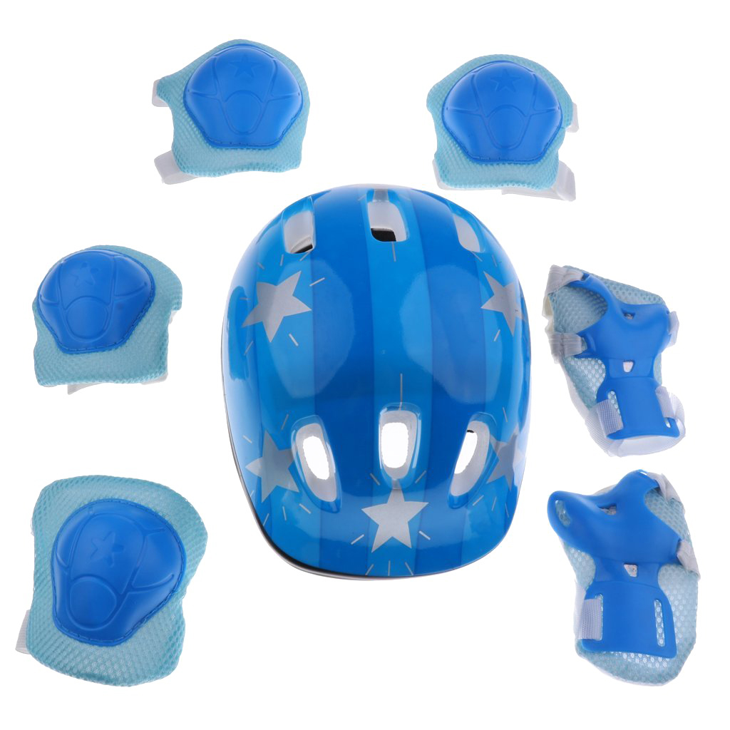 LGFM-7 Pieces Kids Children Roller Skating Scooter Bicycle Helmet Knee Elbow Wrist Pad Guard Protective Gears Set- Blue Star