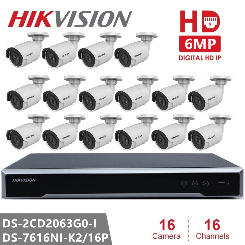 Hikvision CCTV Camera Kits Video Surveillance 6MP IP Camera Surveillance Camera POE H.265 Home Night Version System Remote View