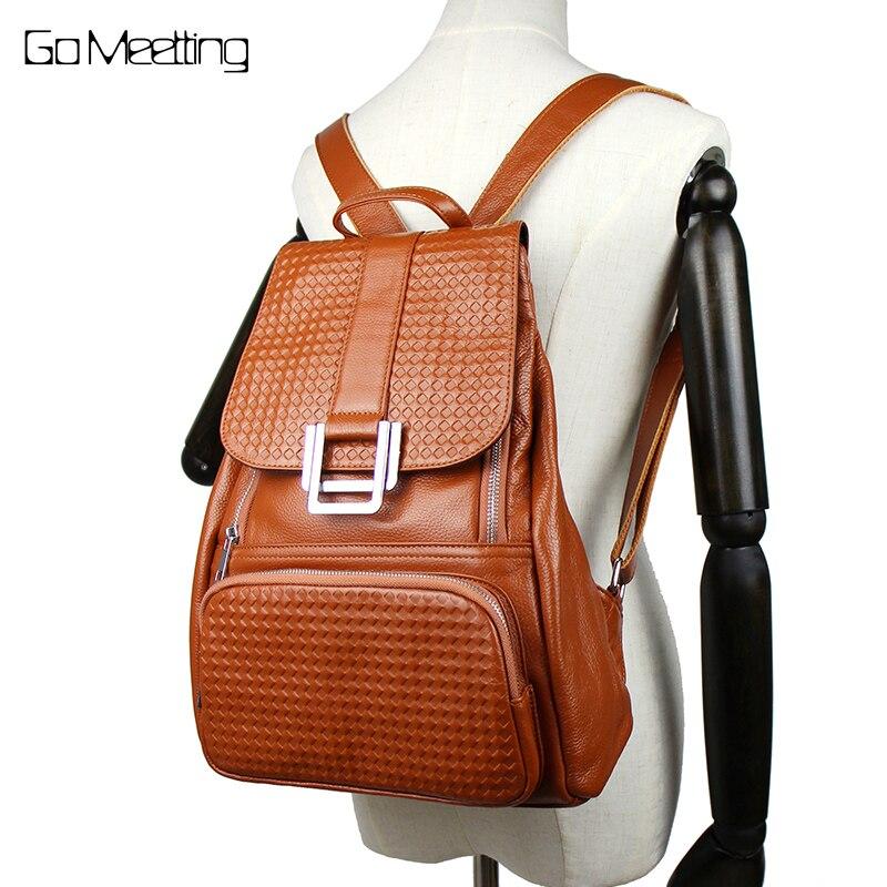 купить Go Meetting Brand Genuine Leather Women Backpacks Grid Embossed Sac A Dos Shoulder Bag Mochila Feminina Brown Travel Backpack по цене 3553.12 рублей