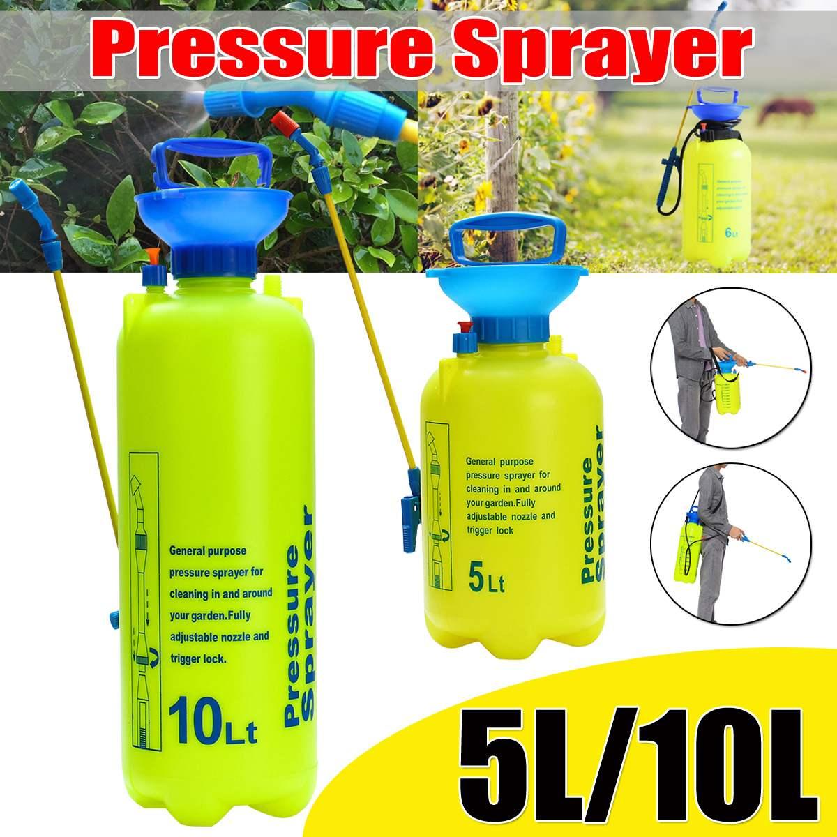 7d743f9c51b 5/10L rociador de presión de jardín rociador de aire comprimido de mano  botella de Spray de riego Manual de planta de irrigación shoudler Correa