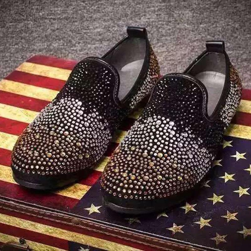 Casamento Mocassin E Moda Mocassins 1 Partido Coreano Dedo Sapatos Homme Model Do Pé Estilo Masculina model Preto Strass Dos Homens Couro Redondo Sapatas 2 De nqRaxw5H