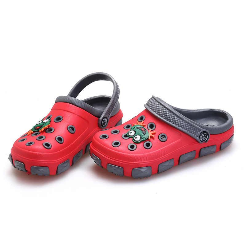 9422571f38b8 ... summer little boys girls mules and clogs garden shoes hollow children  slipper cartoon frog PU shower