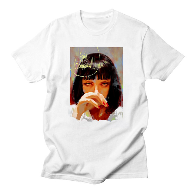 22700b2e0cb7 Popular Movie Pulp Fiction T Shirt women Mia Wallace graphic tees women  Quentin Tarantino White funny T-shirt Hip Hop Women