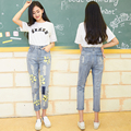 2016 Autumn Ripped Boyfriend Jeans For Women Flower Printed High Waist Plus Size Causal Cool Denim Jean women Vintage Hole Pants