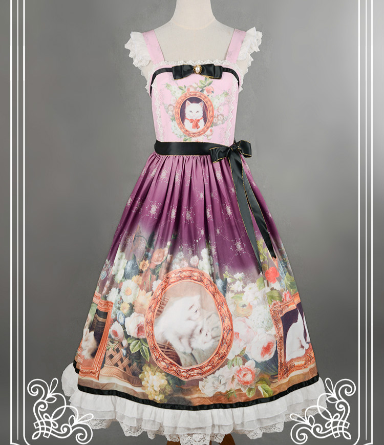 Soufflesong Branded Lolita Dress Sweet Cat in Courtyard Printed Girl s Lolita JSK Custom Tailored