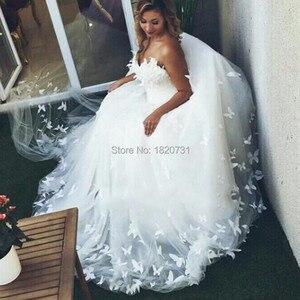 Image 4 - 2020 nova chegada tule vestido de baile vestido de casamento romântico querida fora do ombro borboleta padrão vestido