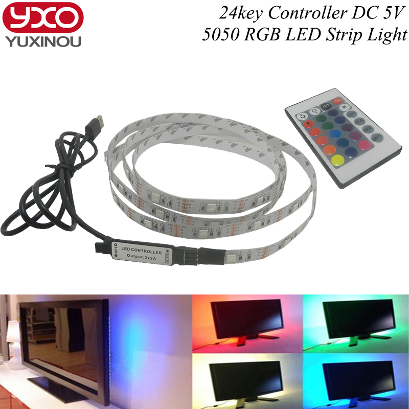 TV Background Lighting DC5V USB LED Strip 5050 RGB Christmas desk Decor lamp with 24Key RF Controller 50cm /1m/2m/3m/4m/5m Set