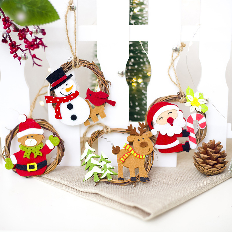 1pcs Wooden Christmas Garland Rattan Circle Pendants Decoration Diy Wood Crafts Christmas Ornaments Home Decor Supplies