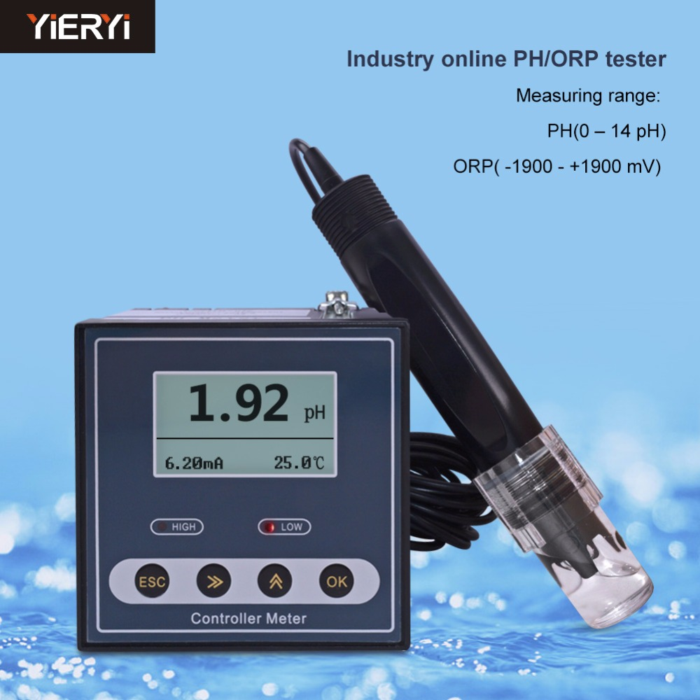 yieryi Original Online Industrial PH Controller ORP Meter Monitor Digital 0.02pH 1mV Upper Lower Limit Control Alarm pH Tester free for shipping black abs hard shell backpack case bag for hubsan x4 h501s quadcopter brand new high quality may 2