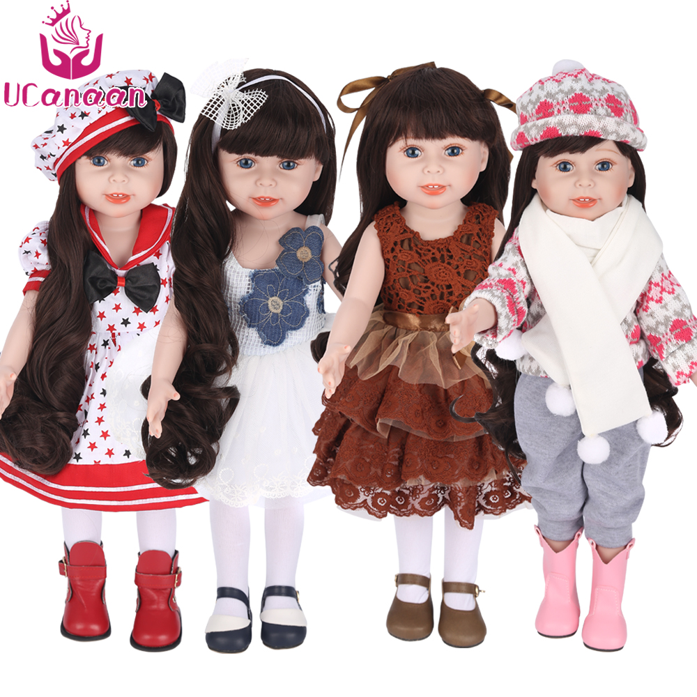 UCanaan 45 cm/18 Inch American Girl Doll Handmade Soft Plastic Reborn Baby Toys Girl Dolls for Kid's Gifts
