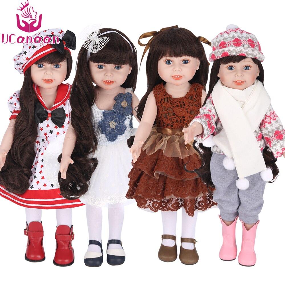Ucanaan/45 см/18 дюймов American Girl куклы ручной работы мягкие Пластик Reborn Игрушки для маленьких детей для девочек Куклы для малыша подарки